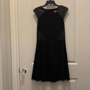 Betsey Johnson black dress with leather accents